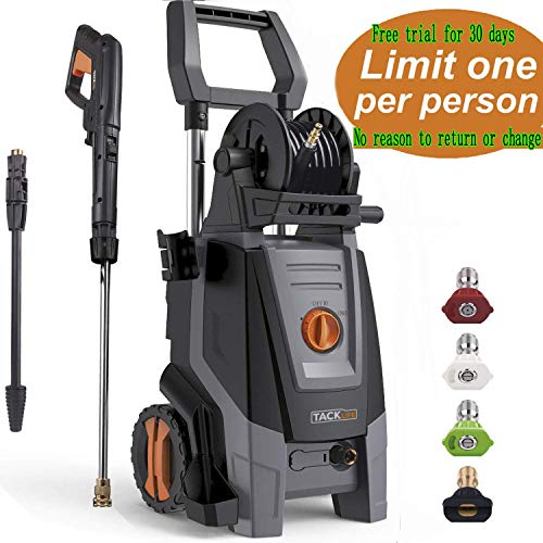 2000 Wax (TACKLIFE 2300 Psi Electric Pressure Washer with Detergent Tank 1.8 GPM 2000W, 4 Nozzles and Automatic Stop Function, Great for Cleaning Cars and Yards)