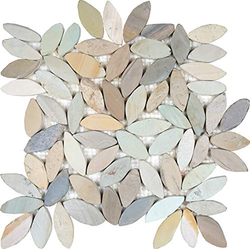 Interlocking Flower Mosaic Autumn Floor Tiles (1-Sheet) Kitchen, Bathroom, and Patio Flooring | Indoor and Outdoor Use | Natural Auburn Golden Green Stones | Quick and Easy Grout Installation