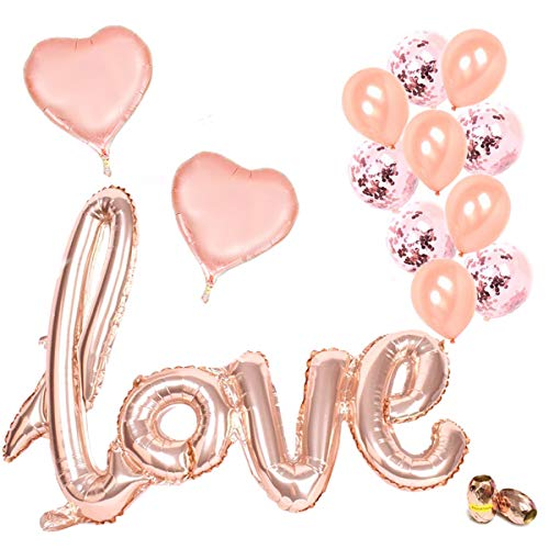 CODOHI Rose Gold Love Balloon Set - 15 Pack - Foil Heart Balloons Confetti Balloons for Romantic Valentines Day Decorations and Gift | Love Ballon Kit
