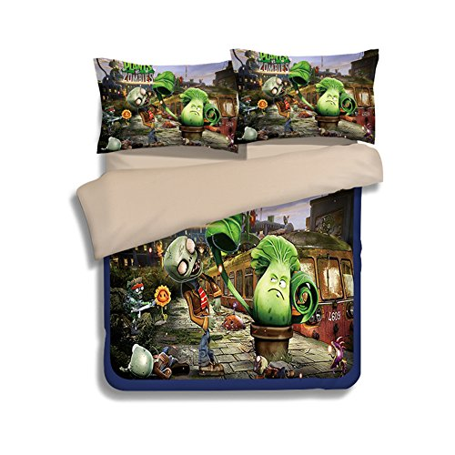 Plants VS. Zombies Bedding Sets - Sport Do Best Gifts for Game Funs 100% Polyester Skinclose Fitted Sheet 4PC - Shopping Square At Union