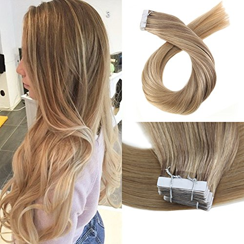 Moresoo 14 Inch 40pcs/100g Full Head Set Seamless Skin Weft Tape in Extensions Dip Dye Color #10...