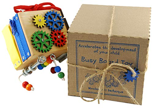 BusyBoardToy Wooden Developmental Toy for Children - Sensory Playing Cube for Your Child - Montessori Principles for Natural Learning - Developmental Toy for Traveling 2