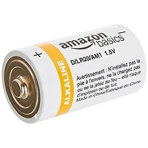 AmazonBasics D Cell 1.5 Volt Everyday Alkaline Battery – 12-Pack