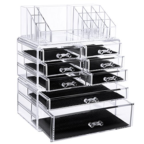 SONGMICS Makeup Organizer Cosmetic Storage Drawers Jewelry Display Case 3 Pieces Set UJMU08T