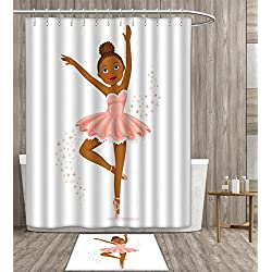 Girls shower curtain polyester fabric art Ballerina Dancing Daughter Classic Performance Hobby Birthday Kids Baby Theme Bathroom Decor Set with Hook 60x72 inch Rose and Brown gift bath rug