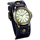 JewelryWe Vintage Leather Strap Wide Band Wristwatch Cuff Quartz Watch for Men - Blue