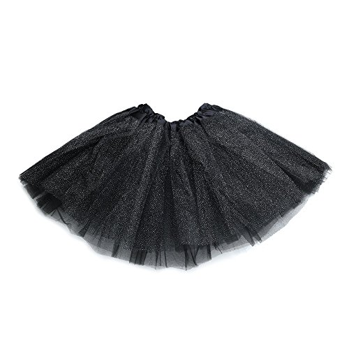 [Anleolife 12'' Birthday Tutu Skirt For Girls Ballet Dance Tutus Glitter Christmas Halloween Gift] (Light Up Black Tutu)