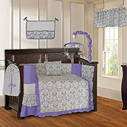 BabyFad Damask Purple Unisex 10 Piece Baby Crib Bedding Set