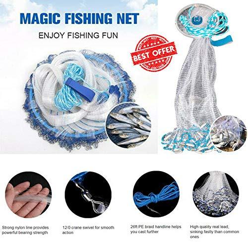 uramiracle Magic Fishing Net Finefish Aluminum Ring Catch Fish Network (300cm)