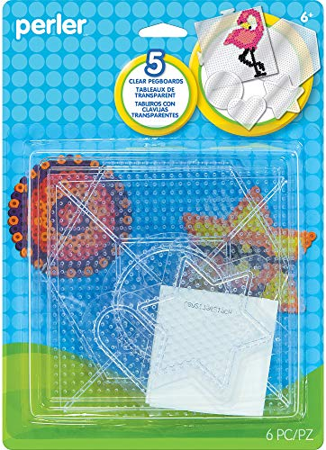 (Perler Beads Clear Shaped Pegboards, 5pc )