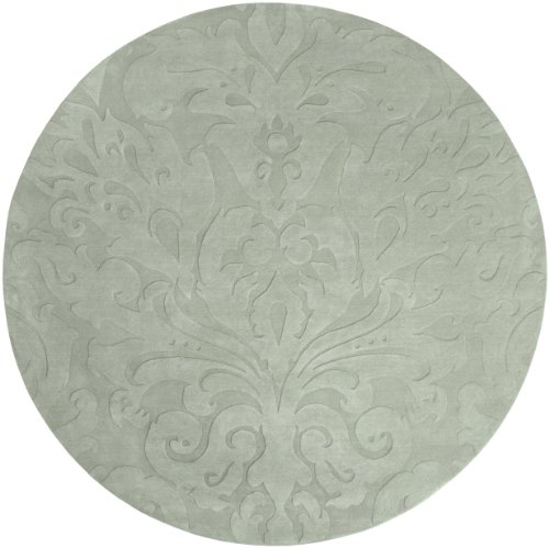 Surya Candice Olson Sculpture SCU-7517 Transitional Hand Loomed 100% Wool Sky Gray 8' Round Area Rug ()