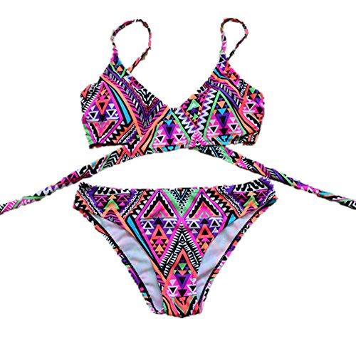 SZH YIBI Sra. Del bikini traje de baño de cuerpo medio ambiente de secado rápido se reunieron en Europa y los Estados Unidos apretada elasticidad violets