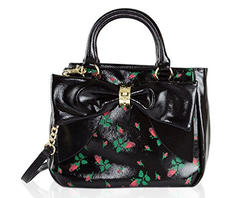 Lined Patent Leather Clutch - Betsey Johnson Rosebud Floral Faux Patent Leather Bag In Bag Bow Trim Triple Entry Satchel Crossbody