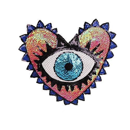 (Large Heart Eye Sequins Patch Heart Eye Sew on Patches Embroidered Badge Motif Applique Compatible Clothing Jeans T-Shirt)
