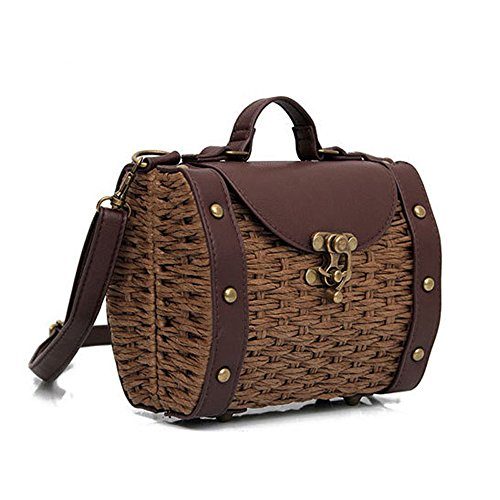 Mini Bag Crossbody Handmade PU Women's Quilted Shoulder Retro Leather Brown Bags Weave ztqEUw
