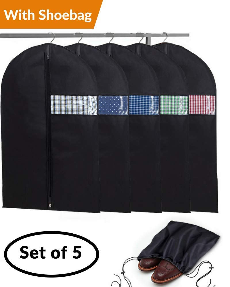 Garment Bags with Shoe Bag - Breathable Garment Bag Covers Set of 5 for Suit Carriers, Dresses, Linens, Storage or Travel - Suit Bag with Clear Window by B&C Home Goods (Image #1)