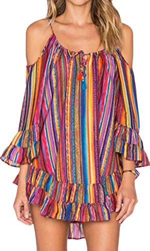 NQ Women's Sexy Chiffon Cold Shoulder Striped Loose Strap Dress Orange (Orange Flapper Dress)