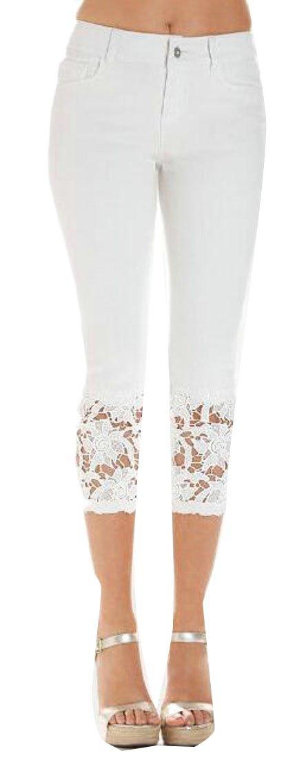 Pandapang Women's Vogue Summer Pure Color Denim Lace Trim Capri Jean Pants White XL