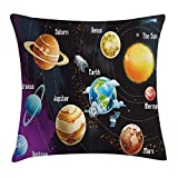 Queen Area Outer Space Solar System of Planet Milk Way Neptune Venus Mercury Sphere Horizontal Square Throw Pillow Covers Cushion Case for Sofa Bedroom Car 18x18 Inch, Multi