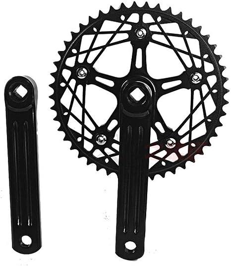 Fixie Bielas de Bicicleta de una Sola Velocidad, 170 mm, para Bicicleta 130 BCD con Rueda de Cadena 48T, Accesorios para Bicicleta, Bicicleta de Pista, Bicicleta de Engranaje Fijo: Amazon.es: Deportes y