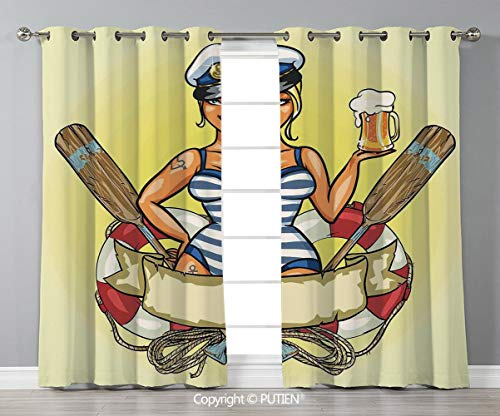 Grommet Blackout Window Curtains Drapes [ Girls,Pin Up Sexy Sailor Girl Lifebuoy with Captain Hat and Costume Glass of Beer Feminine,Multicolor ] for Living Room Bedroom Dorm Room Classroom Kitchen Ca