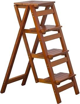 Taburete de Escalera de Madera Maciza de 4 Escalones para El Hogar, Escaleras Multifunción Plegables para Soporte de Flores, Espacio Pequeño (Color : Light Walnut): Amazon.es: Hogar