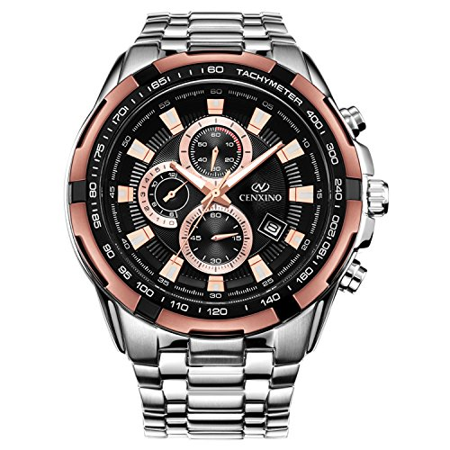 Analog Stainless Steel Bracelet (Cenxino Men's Rose Gold Chronograph Watches With Date Analog and Stainless Steel Bracelet)