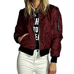 Wensltd Women Bomber Jacket Flight Jacket Motorcycle Soft Zipper Short Coat Jacket Xl Wine