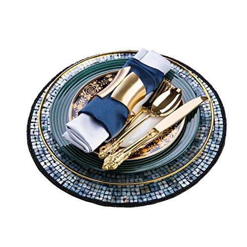 - Chic Dark Green Porcelain Dinner Set, Round Handmade Shell Placemat, Golden Cutlery Spoon, Housewarming Gift