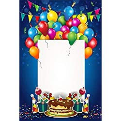 Leyiyi 8x10ft Kids Happy Birthday Backdrop Cartoon Ballons Colored Banner Flag Background 1st B Day Party Cracker Confetti Gift Box White Blank Card Baby Shower Portrait Vinyl Prop Studio Wallpaper
