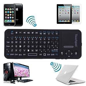 RII Mini Wireless Bluetooth Keyboard (Built-in TouchPad/Laser Pointer) - Black