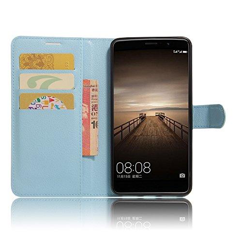 Huawei Mate 9 Funda carcasa / caso / case, KuGi ® Huawei Mate 9 Funda / caso- PU de cuero de alta calidad caja de la carpeta pata de cabra para Huawei Mate 9 teléfono inteligente.(azul) azul