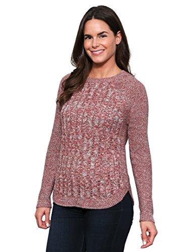 Leo & Nicole Women's Long Sleeve Crewneck Cable Shirttail Hem Pullover XL Adobe (Maternity Crewneck Cable Sweater)