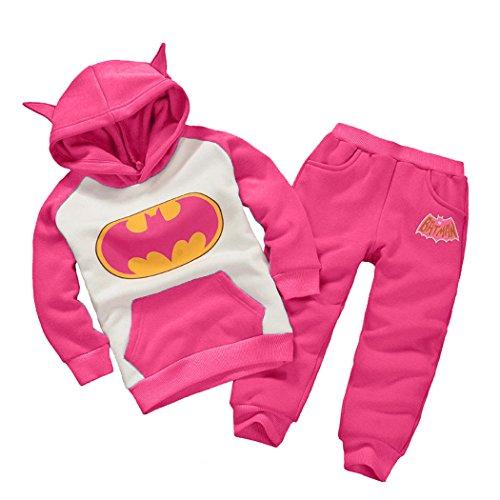 [Astage Little Kids' Long Sleeve Cartoon Batman Hoodies Sport Clothing Hotpink 1 Years] (Korean Costume For Boys Kids)