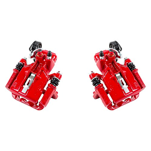 CK01030 [ 2 ] REAR Performance Grade Red Powder Coated Semi-Loaded Caliper Assembly Pair Set [ SN95 ]