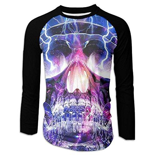 (Men's Funny Lightning Skull Temple Raglan Long Sleeve Jersey T Shirt)