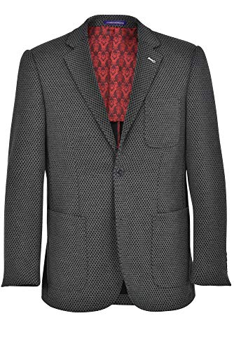 JAMES MORGAN Men's Fully Lined Solid Fit Blazer, Dark Grey, 46