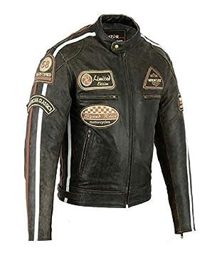 Bstarmoto Chaqueta De Cuero Para Moto, Chaqueta Con Protecciones, Leather JAcket With Protections (4XL): Amazon.es: Coche y moto