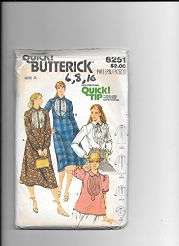 (Butterick 6251, Vintage Sewing Pattern for Misses 6 8 10, Tuxedo Tucked Bib Dress or Blouse with Collar & Pleated Back Yoke & Button Tab Front Opening)