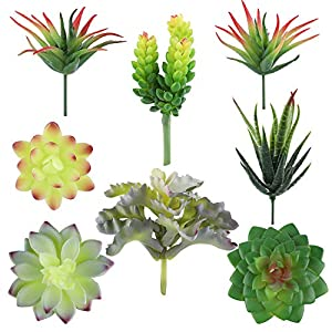 Hecaty 8 Pcs Faux Succulents,Artificial Hanging Ornaments Fleshed Plant Textured for Home Garden Wedding Party Decoration (8pcs) 6