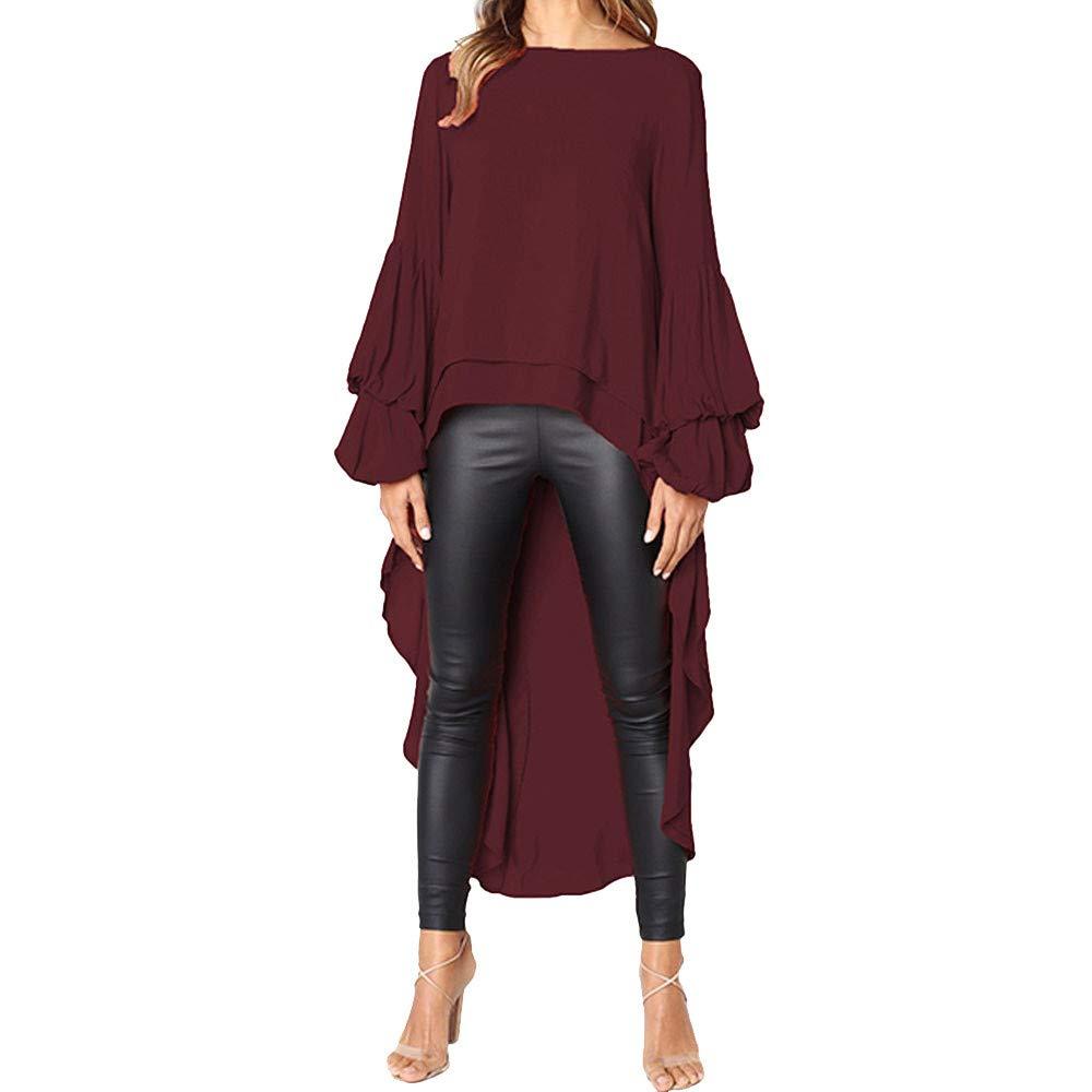 NUWFORWomen Irregular Ruffles Shirt Long Sleeve Sweatshirt Pullovers Tops Blouse WE/S(WineRed,S)