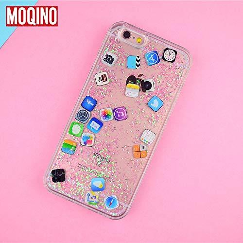 1 piece MOQINO For iPhone 8 8Plus 7 7plus 6 6s 6plus Case Emoticon Emoji APP icon Diamond Light Liquid Glitter QuickSand Phone Cover (The Best Emoji App)