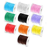 Waxed Cotton Cord 1mm, 10 Colours Pack, 10 metres, Assorted Waxed Thread Rolls, Imitation Leather Cord, Jewellery Making Cord/String for Beading, Braiding, Macrame, Necklace and Bracelets