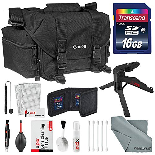 Canon Gadget Bag 2400 for EOS SLR Cameras Accessory Bundle with 16GB SD Card + Table top Tripod + Memory Card Wallet + Xpix Deluxe Cleaning Kit by Photo Savings
