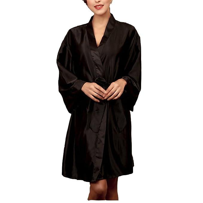FuweiEncore Bata Batas de Noche de Satén Sexy Mujer de Pijama Bata de Baño Talla única (Color : Negro, Tamaño : Un Tamaño): Amazon.es: Ropa y accesorios