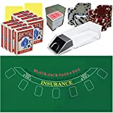 Ultimate Blackjack Kit with Poker Chips, Layout, 8 Deck Blackjack Shoe, 8 Decks of Bicycle Cards and Much More.