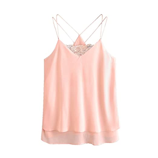 1f25dd6027d Image Unavailable. Image not available for. Color: Wintialy Women Lace  Chiffon Sleeveless Crop Vest Tank Shirt ...