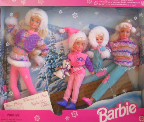 Winter Holiday BARBIE Gift Set - Sledding Fun w Barbie, Koko, Stacie, Kelly & Skipper Dolls & Dog (1995)