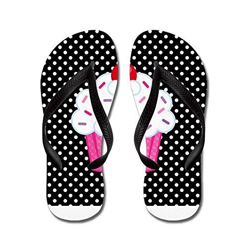 CafePress - Pink Cupcake On Polka Dots - Flip Flops, Funny Thong Sandals, Beach