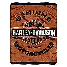 Harley Davidson Motorcycles Queen Size Plush Blanket Genuine Logo